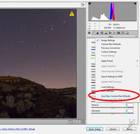 Star Trail in PS - Save Default Settings fig3