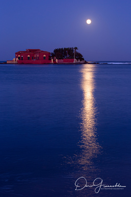 Strawberry Moon Reflection Over Brancati's Islet - Marzamemi