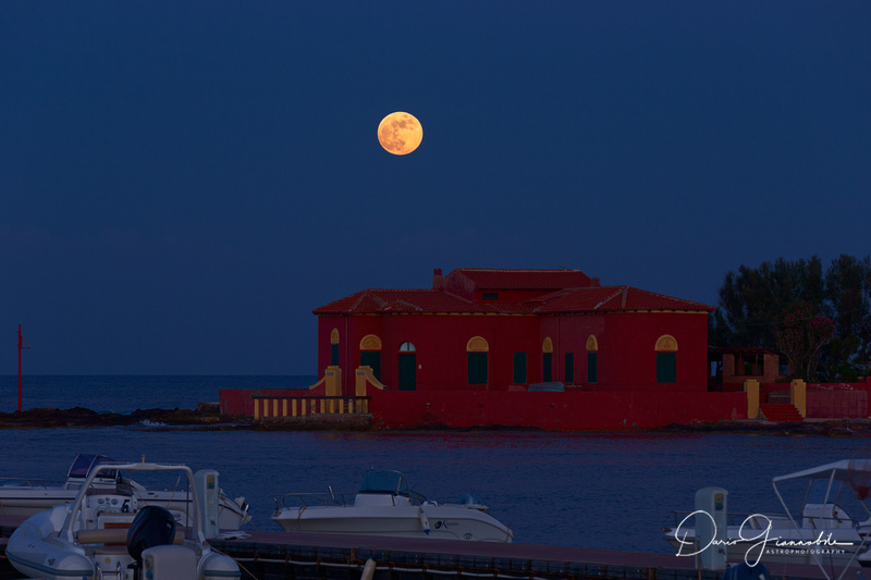 Strawberry Moon Over Brancati's Islet 2 - Marzamemi