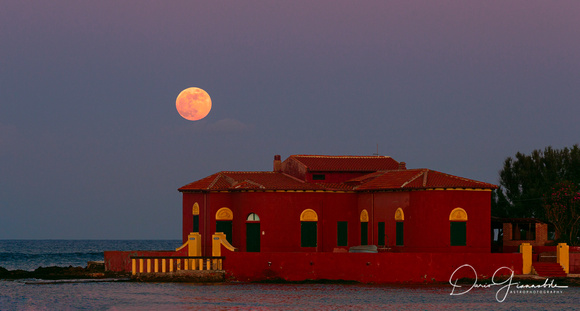 Strawberry Moon Over Brancati's Islet - Marzamemi