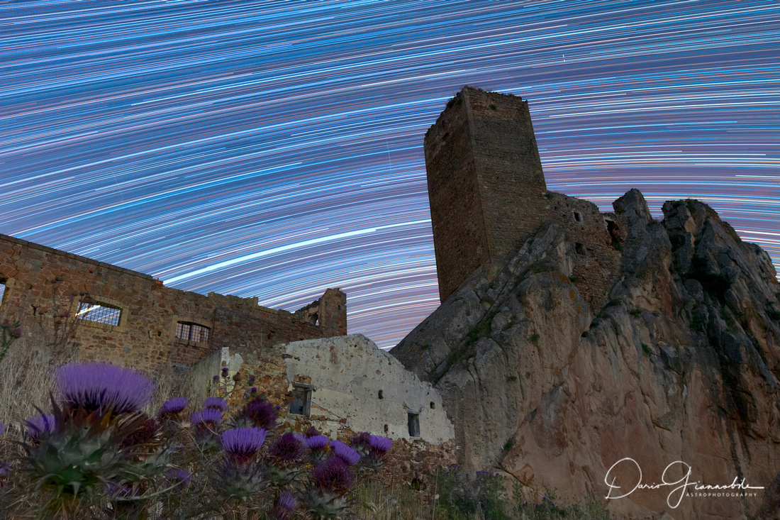 Star Trail Over Castello Gresti Sicily Italy