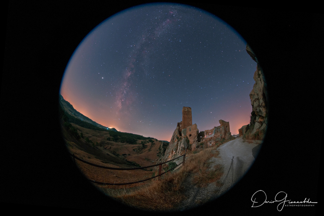 The Secular Custodian Observes The Gresti Castle And The Milky Way - Sicily