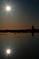 Moon Reflection At Marsala's Salt Ponds