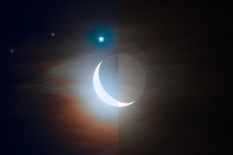 Moon and Venus before - after