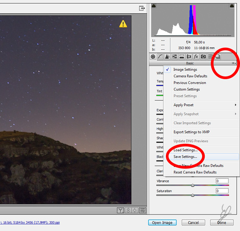 Star Trail in PS - Save Settings fig2