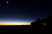 Moon Mars and Venus Alignment over Mount Etna