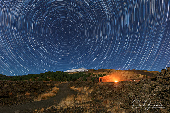 Star Trail Over The Sciara - Mount ETNA - Unesco World Heritage Site