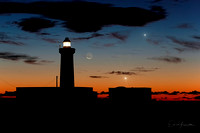 Moon Jupiter and Venus Conjunction Behind The Plemmirio Lighthouse